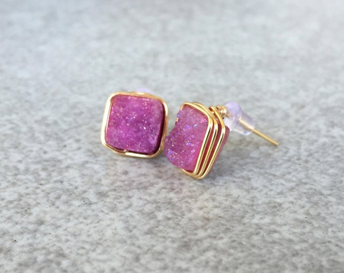 Pink Square Druzy Stud Earrings
