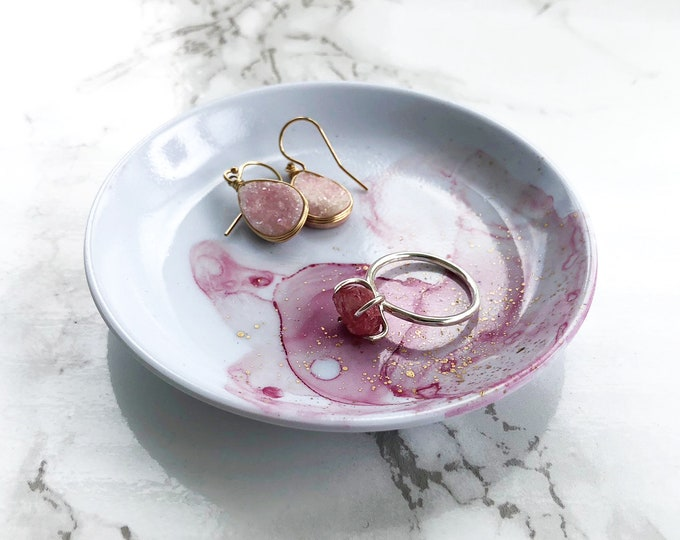 Blush Pink Marbled Ring Dish