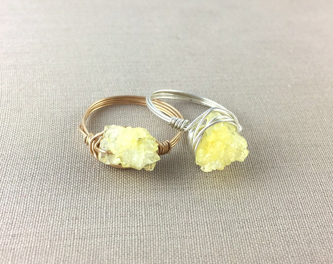 Yellow Quartz Druzy Wire Wrapped Ring