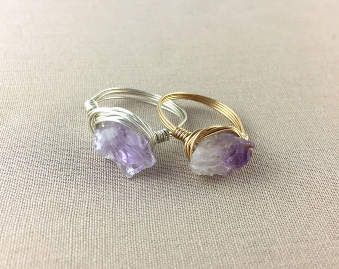 Raw Amethyst Wire-Wrapped Ring