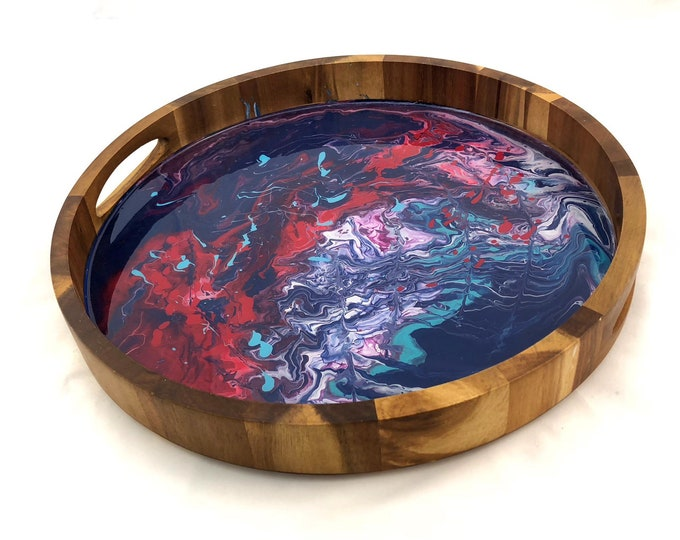 Hand Marbled Acacia  Serving Tray