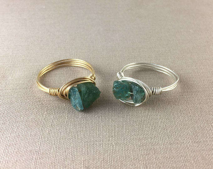 Raw Apatite Wire-Wrapped Ring