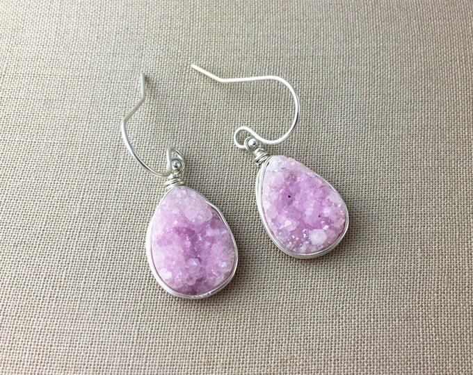 Pink Druzy Earrings // dangle earrings, drop earrings, drusy earrings, teardrop earrings, sterling silver earrings, gold earrings