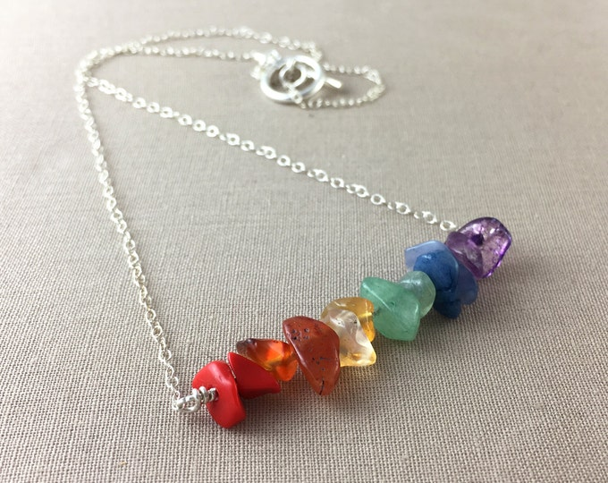 Rainbow Necklace // chakra necklace, gemstone necklace, gemstone bar necklace, crystal necklace, boho jewelry, sterling silver necklace