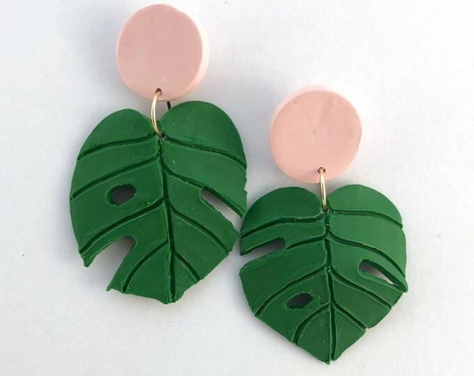 Monstera Leaf Statement Earrings