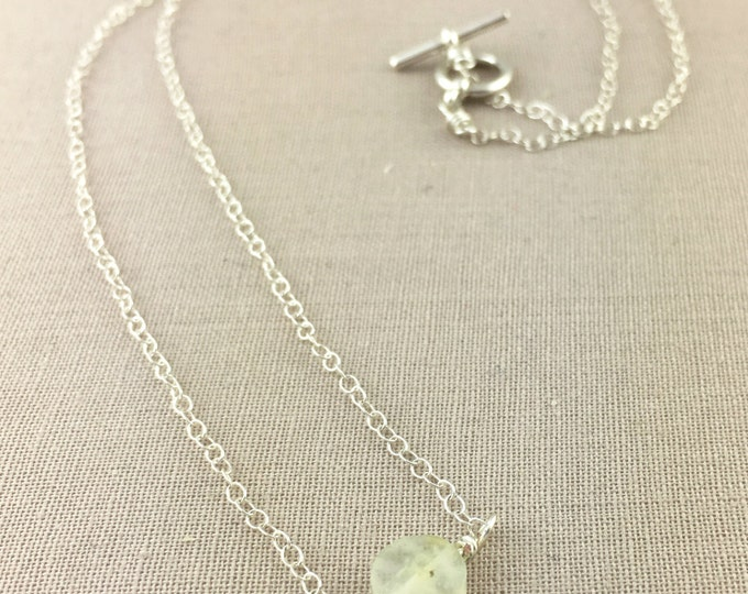 Prehnite Necklace // green gemstone necklace, dainty necklace, delicate necklace, jewelry under 35, layering necklace, bridesmaid gift