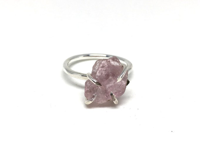Catalina Ring - Morganite / California Collection // raw morganite ring, sterling silver, boho jewelry, raw gemstone ring, crystal ring