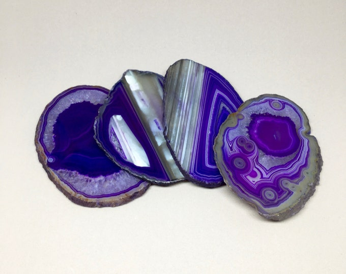 Agate Coasters // purple and white agate coasters, purple agate slices, geode coasters, stone coasters, crystal coasters, gold rimmed agate