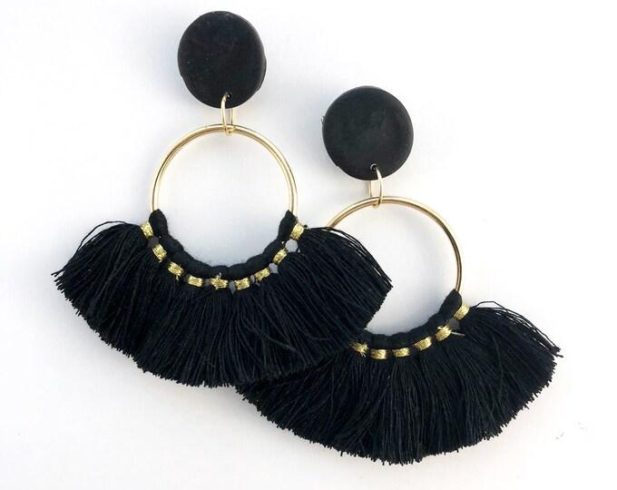 Black Fan Tassel Statement Earrings