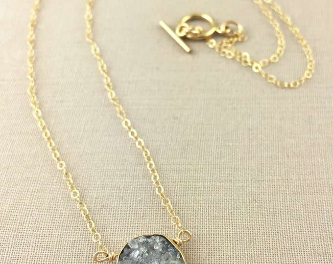 Gray Druzy Necklace // gold druzy necklace, gray drusy, delicate necklace, bridesmaid necklace, jewelry under 35, everyday necklace