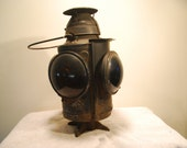 Handlan of St. Louis, Marked New York, New Haven and Hartford Railroad Switch Lamp, Adlake Signal Lamps, steampunk