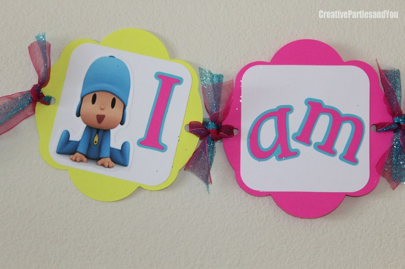 Pocoyo High Chair Banner Different colors  I am 1 Pocoyo Boy or Girl