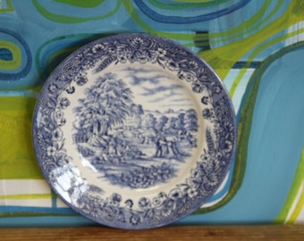 Vintage 1980's Blue and White Churchill side plate