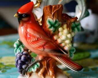 Beautiful Vintage 1960's Red Cardinal Figurine