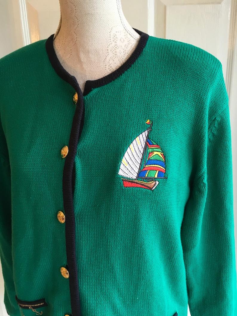Vintage Nautical Sailing Yacht 80 s Jacket Cardigan US 1012   UK  1416