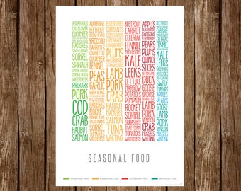UK Seasonal Food Poster (print)