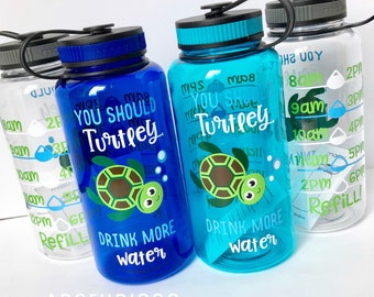 Motivational Water Bottle, Water Intake Tracker, Exercise Water Bottle, Work Out Bottle, Personalized Bottle, Turtle Gifts, Turtle Water