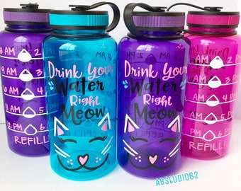 Motivational Water Bottle, Water Intake Tracker, Exercise Water Bottle, Work Out Bottle, Personalized Bottle, Cat Lover Gift, Right Meow