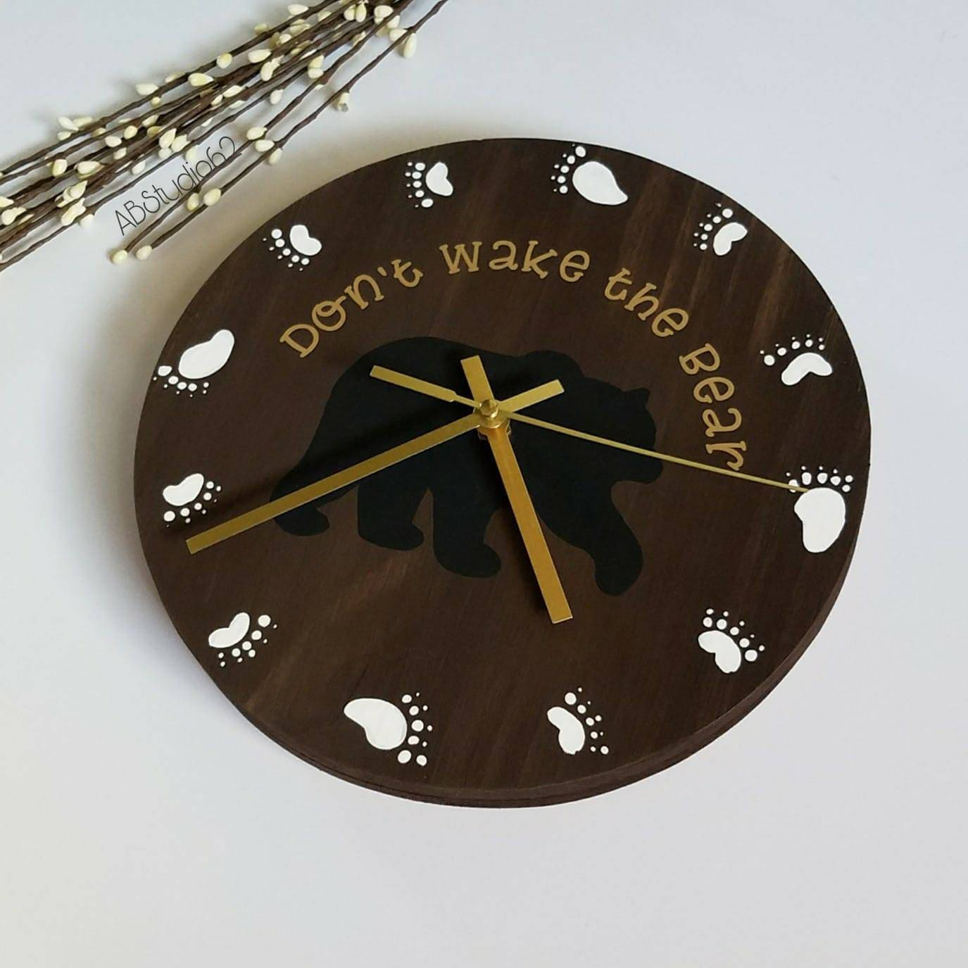 Woodland Nursery Decor Woodland Clock Modern Wall Clock Etsy