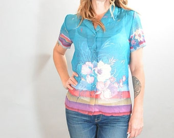 80s Hawaiian Shirt// Miami Vice Shirt// Totally 80s Ethnic Shirt (F1)