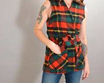Plaid Wool Vest// Wrap Tunic Vest// 60s Paid Vest (F1)