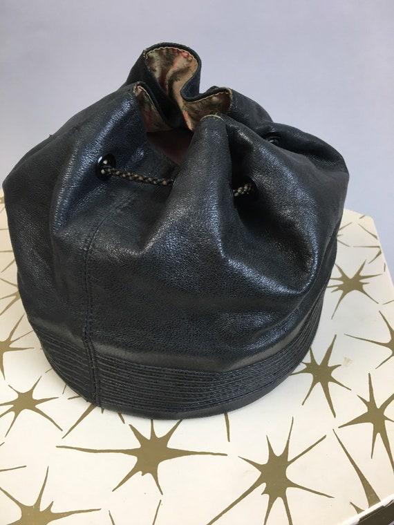 Vintage 30s Leather Handbag// Vintage Deco Era Pu… - image 3