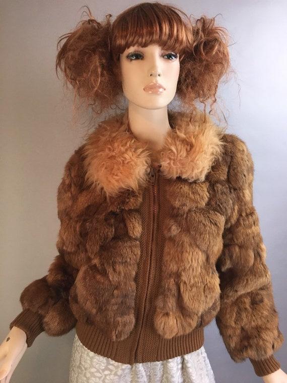 Vintage Rabbit Fur Coat// 70s Disco Fur Coat// Vin