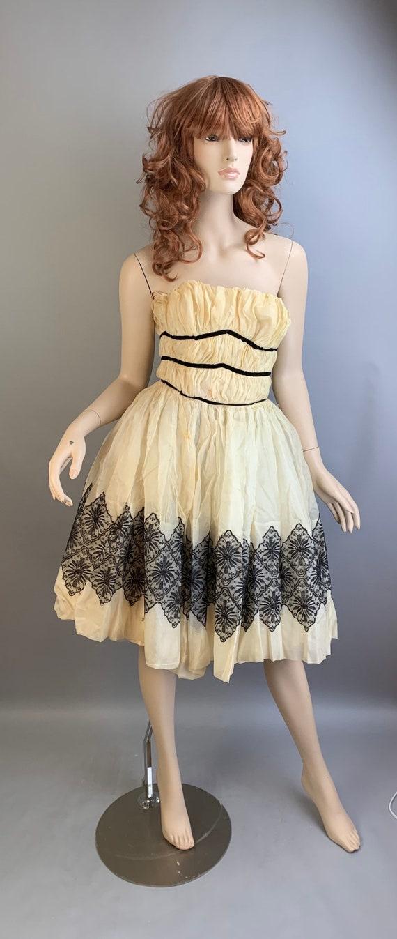 Vintage 50s Dress// Chiffon and Crinoline Dress//
