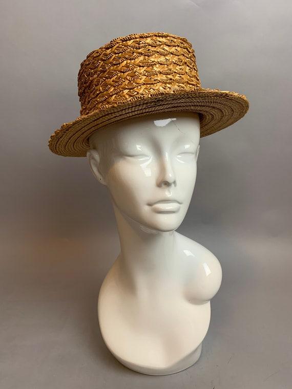 Vintage 20s/30s Straw Hat// Vintage Boater Hat// P
