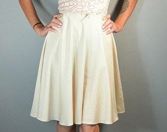 50s Summer Lace Dress// 50s Dress Circle Skirt// Cotton Summer Dress (F1)
