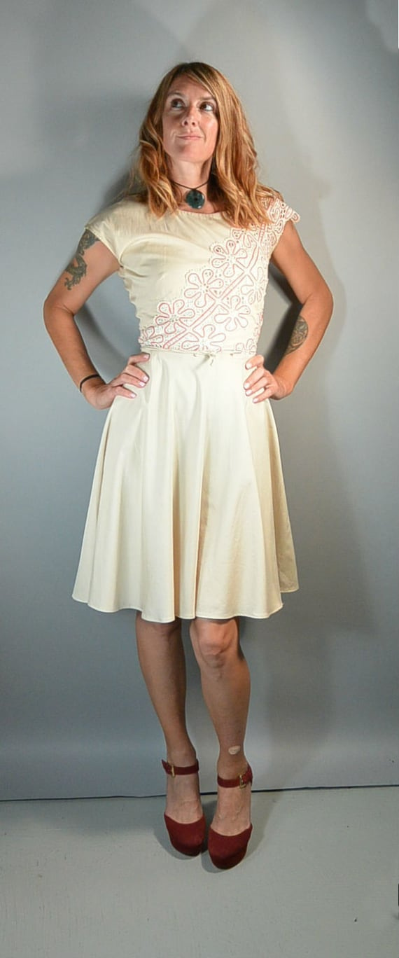 50s Summer Lace Dress// 50s Dress Circle Skirt// C