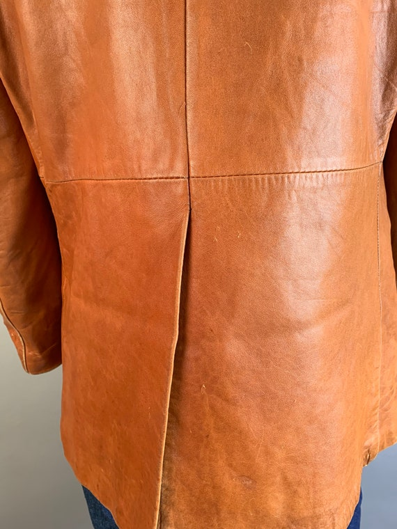 Vintage Mens Leather Blazer// 70s Brown Soft Leat… - image 5