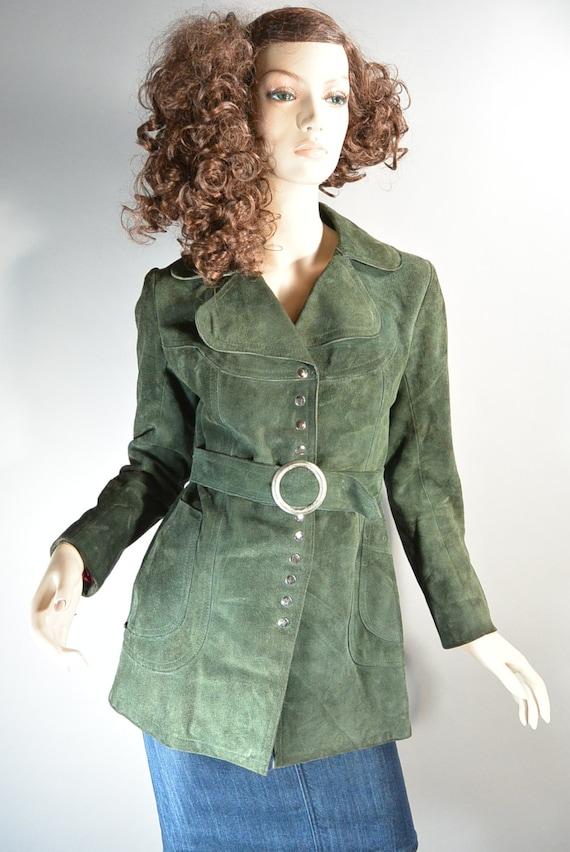 60s Suede Mod Jacket// Forest Green Mod Jacket// R