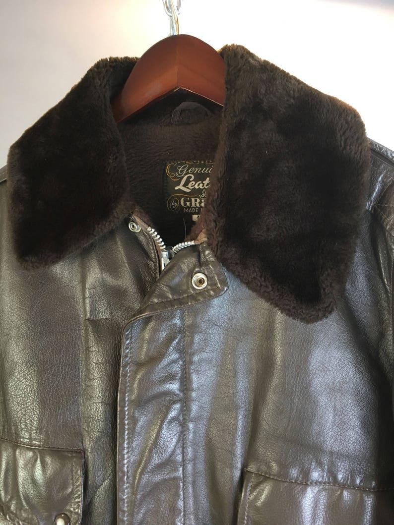 new product fda2d 9c7fa Vintage Herren Leder Fliegerjacke / / Vintage Herren Bomberjacke / /  militärische Leder Jacke 60er Jahre (F1)