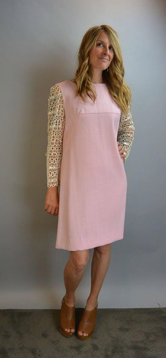 Mod Cotton Pink Dress// Mod 60s Dress// Ribbon Sle