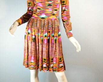 Psychedelic 60s Dress// Mad Men Dress// Colorful 60s Dress Mandarin Collar// Medium/Small Dress (F1)