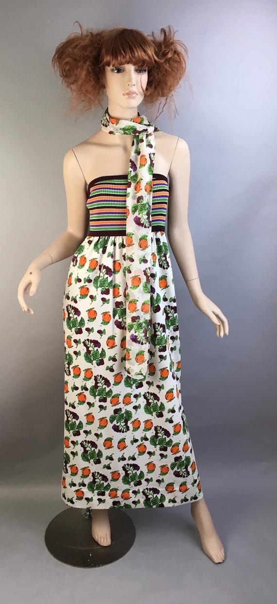 Vintage Sun Dress// Maxi 60s Dress// Fruit Print 6