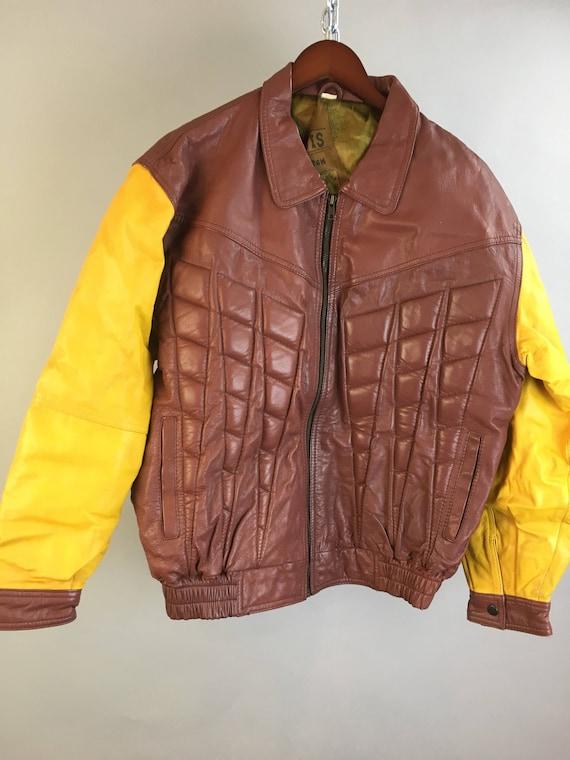 Echtes Leder Vintage Lederjacke 70er Jahre Vintage Leder Motorradjacke braun Motorradjacke (F1)