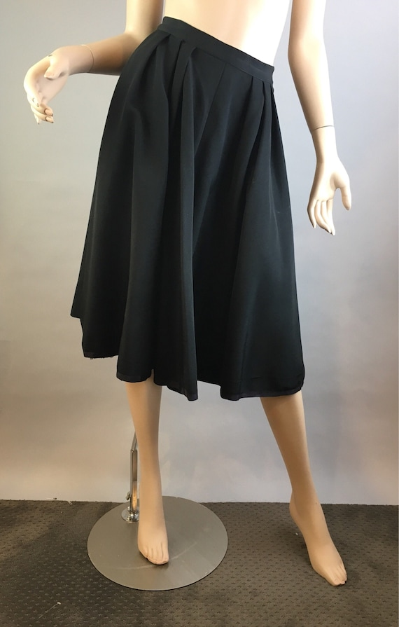 Vintage 50s Circle Skirt// Black Taffeta Circle Sk