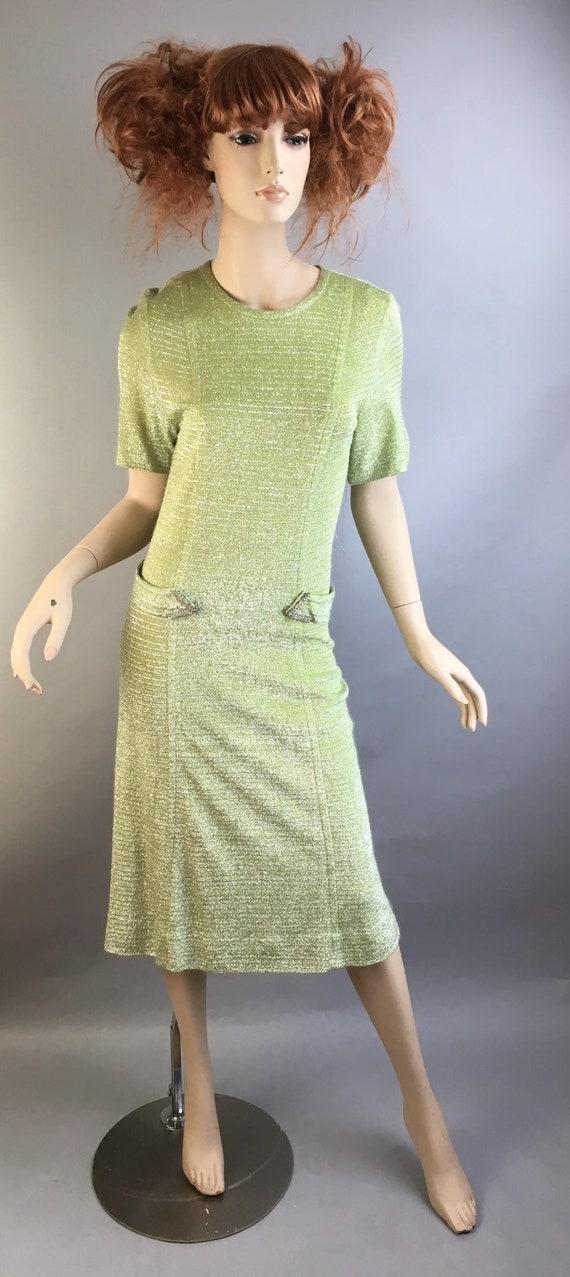 Vintage 60s Mod Sparkly Dress// Drop Waist Mod Gre