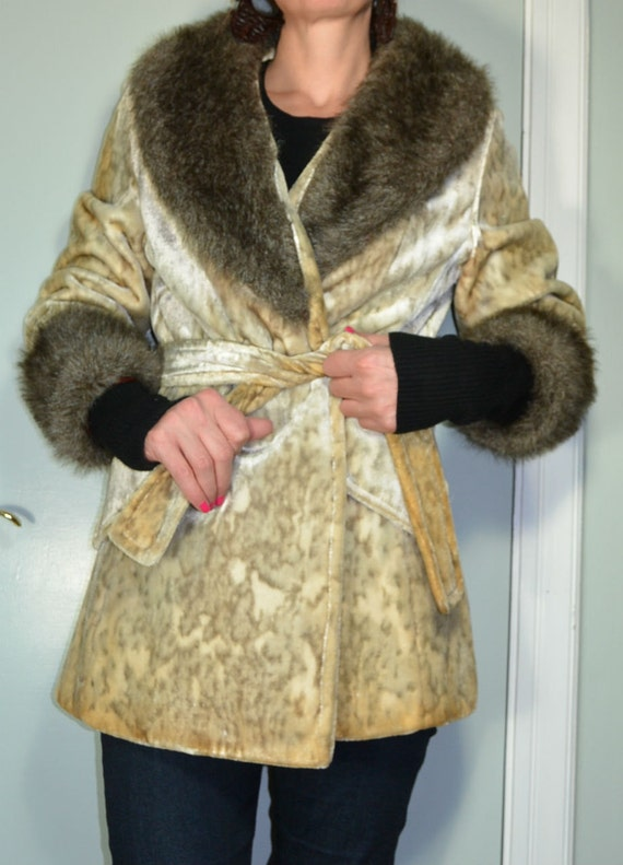Leopard Print Faux Fur Smoking Jacket//Wrap Coat//