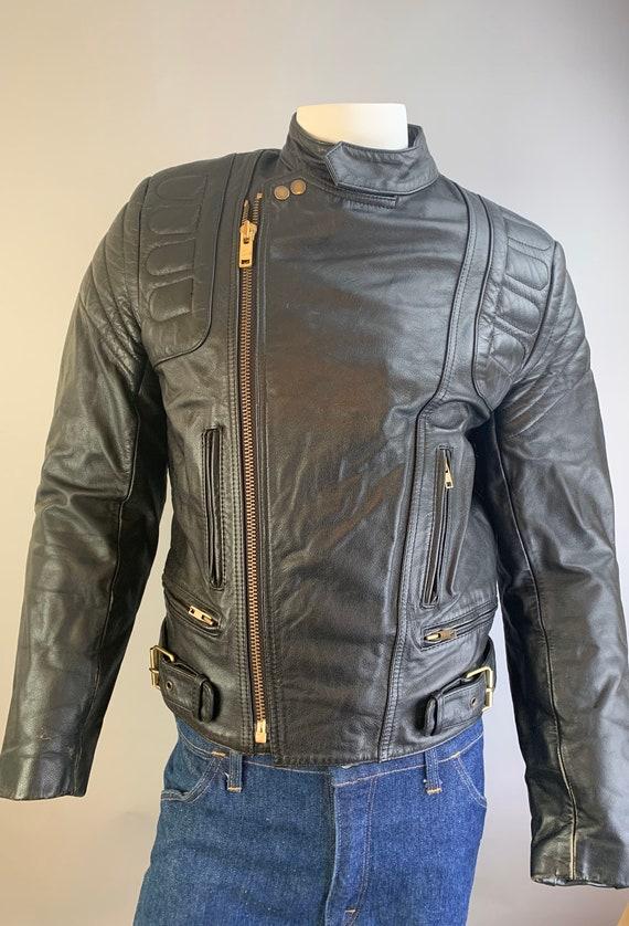 Vintage Motorcycle Jacket// 80s Black Leather Bike