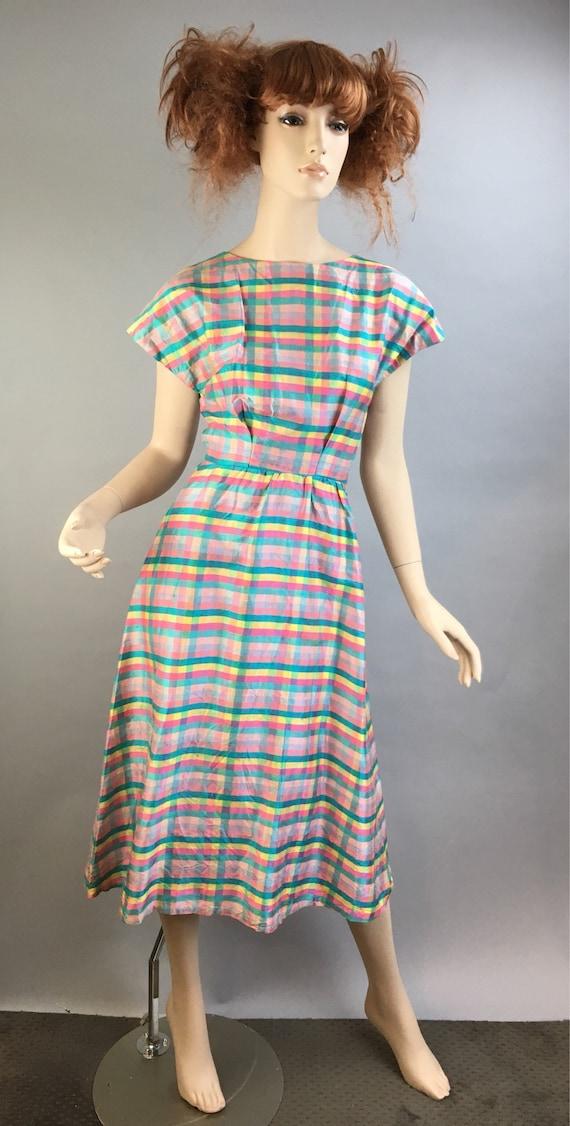 Vintage 60s Dress// Raw Silk Spring Dress// Rainbo