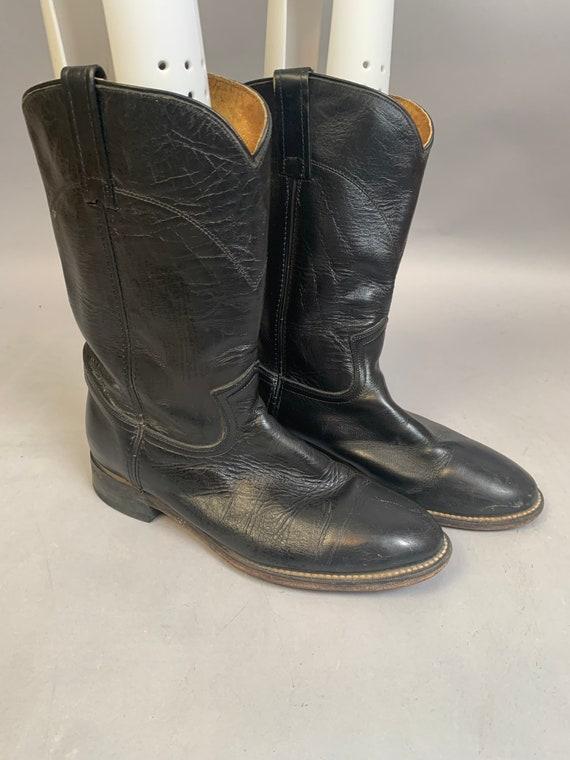 Vintage Cowboy Boots// Black Leather Cowboy Boots/