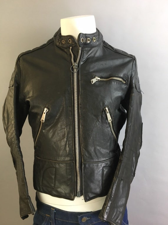 Vintage Sears Motorcycle Jacket// Cafe Racer Leath