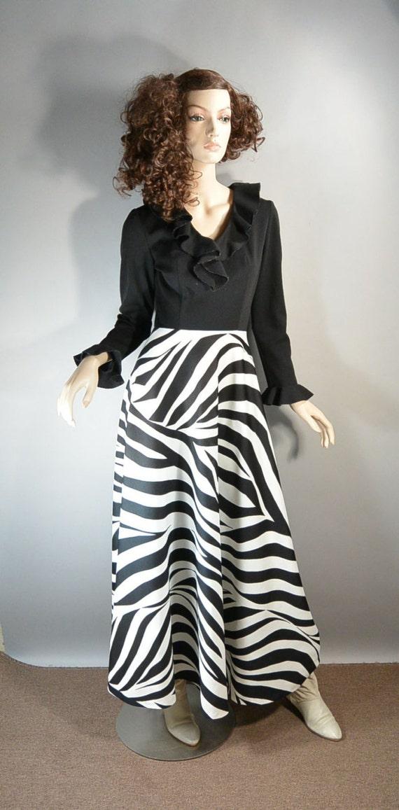 Vintage Disco Dress 70s Zebra Dress Maxi Disco Dress F1 Etsy