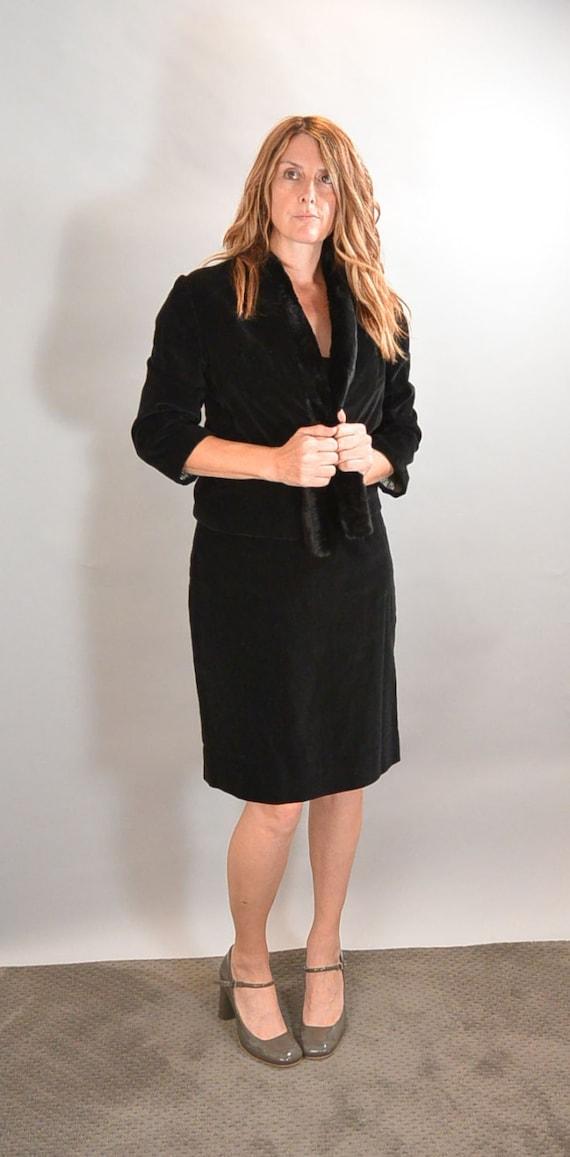 50s Velvet Skirt Suit// 50s Fur Collar Womens Suit