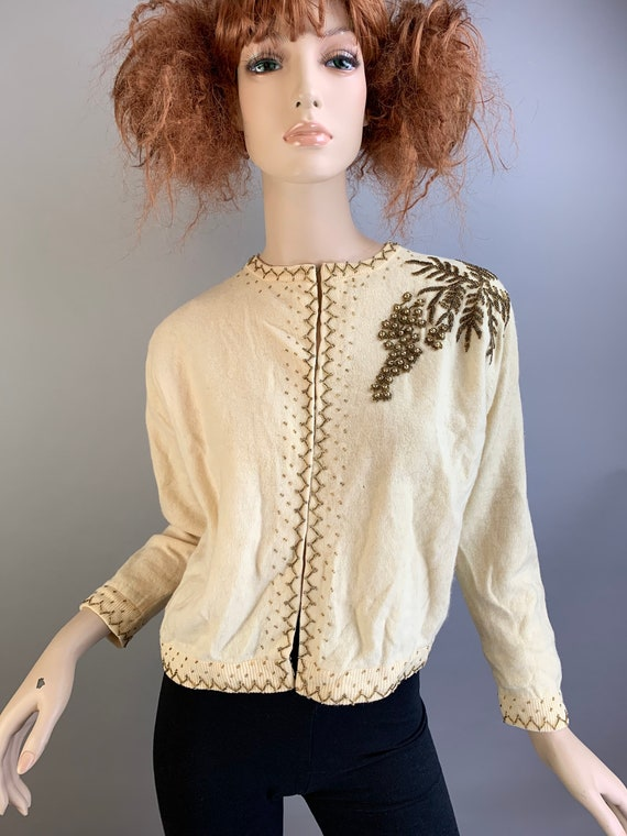 Vintage 50s Beaded Sweater// 50s Cardigan Sweater/