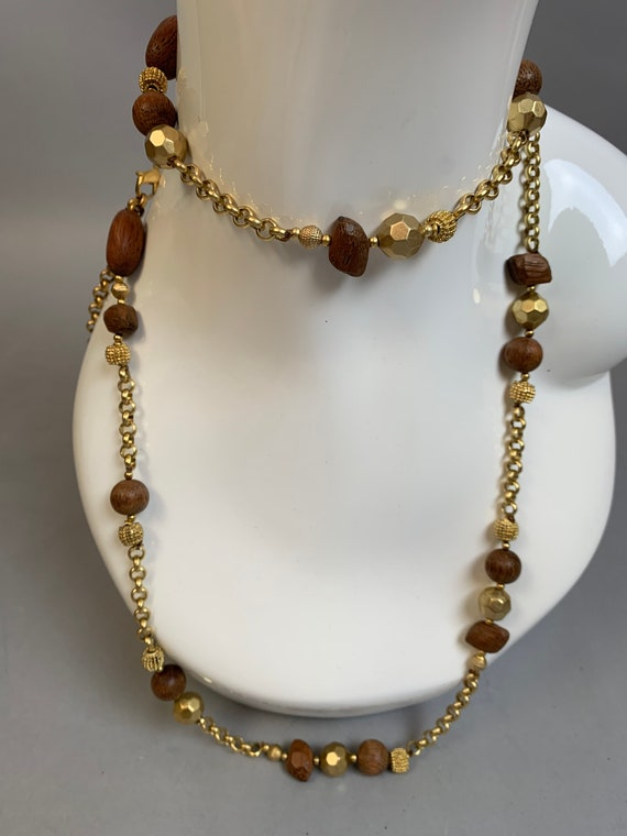 Vintage Mid Century Wood Bead Necklace