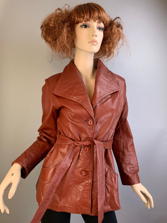 Vintage 70s Leather Jacket// 70s Brown Leather Jac